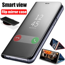 Smart Mirror Flip Case For Samsung Galaxy Note 10 9 8 S10 S9 S8 Plus S7 A9 A7 A8 2018 A10 A20 A30 A50 A60 A80 A70 M10 A20E Cover
