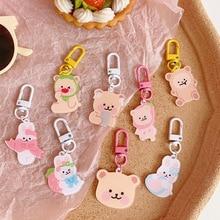Ins Cartoon Cute Bear Rabbit Key Buckle AirPods Earphone Shell Girl Bag Pencil Case Creative Accessories Pendant Key Management