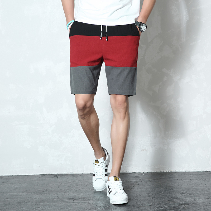 New Brand Casual Shorts Men Elastic Waist Summer Beach Cotton Linen Bermuda Knee Length Fashion Breathable Shorts Quick Dry K40