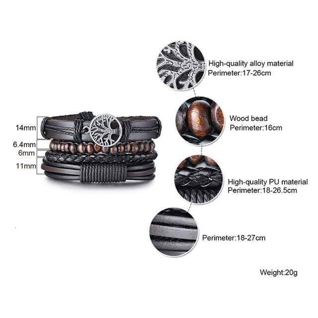 Vnox 3/4Pcs/ Set Braided Wrap Leather Bracelets for Men Vintage Life Tree Rudder Charm Wood Beads Ethnic Tribal Wristbands 5