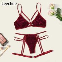 Leechee 2020 yeni şeffaf sutyen seti kadın altın kadife iç çamaşırı erotik iç çamaşırı külot şarap kırmızı backless bandaj seksi iç çamaşırı setleri
