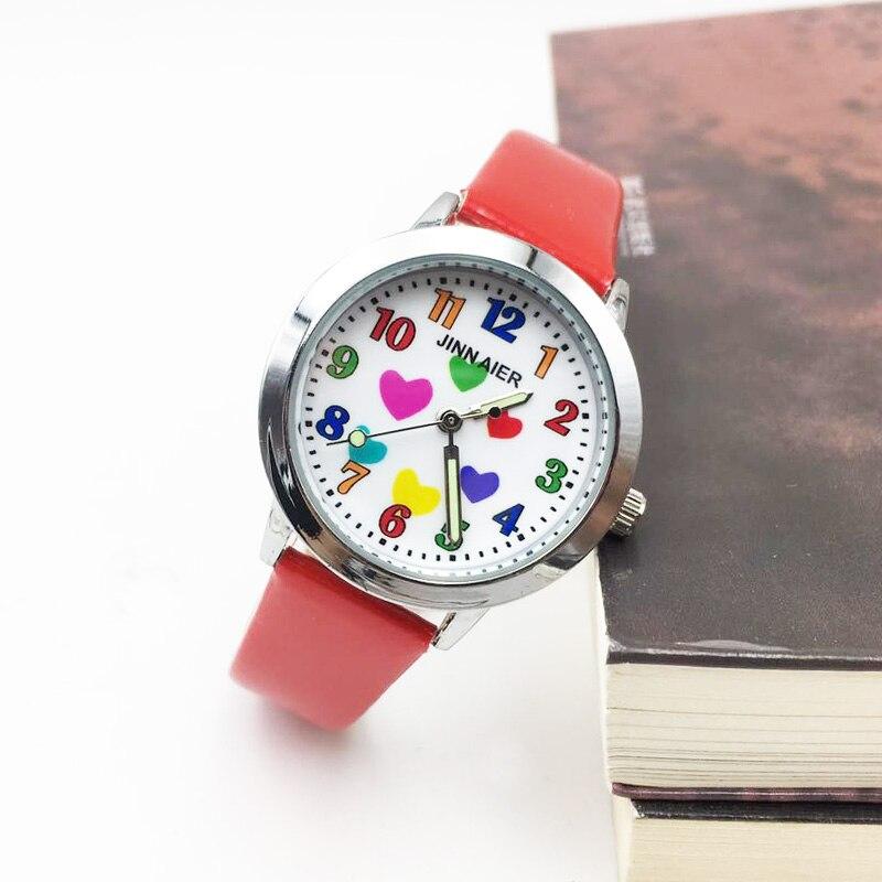 Girls' Watch Cartoon Colorful Hearts Quartz Kids Watches Children Girls Students Wrist Watch PU Strap Luminous Hands Wristwatch
