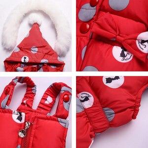 Image 4 - IYeal חורף ילדי בנות בגדים סטי חם סלעית ברווז למטה מעיל מעילים + מכנסיים עמיד למים חליפת שלג ילדי תינוק בגדים
