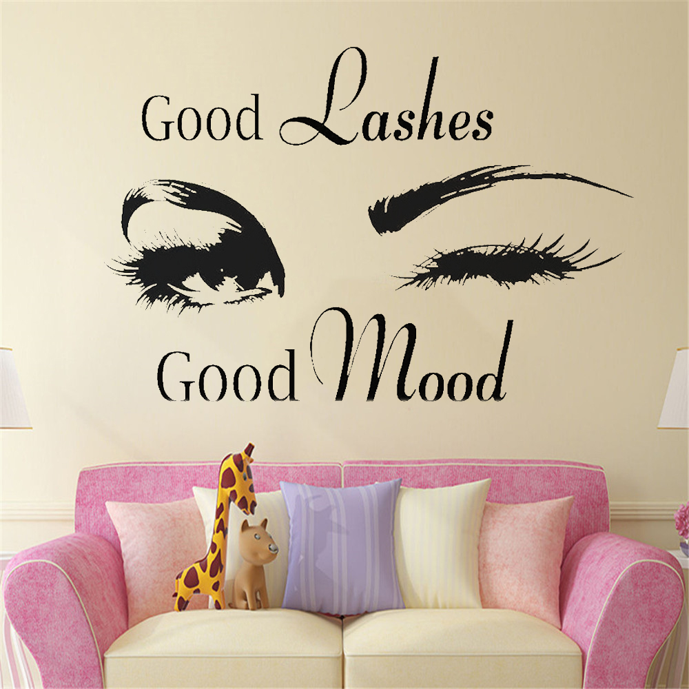 Stickers Islam Pas Cher us $8.03 33% off good lashes beauty salon quote wall stickers decal eye  eyelashes art girl room decals decor modern beauty shop vinyl mural wl313  on