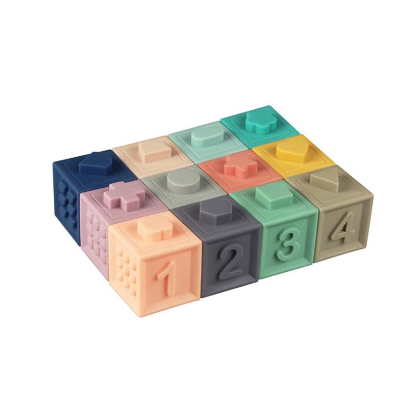 Miękkie zabawki dla dzieci sensoryczne silikonowe edukacyjne klocki 3D wiszące kulki dla niemowląt gumowe gryzaki ściśnij zabawki do kąpieli dla małych dzieci