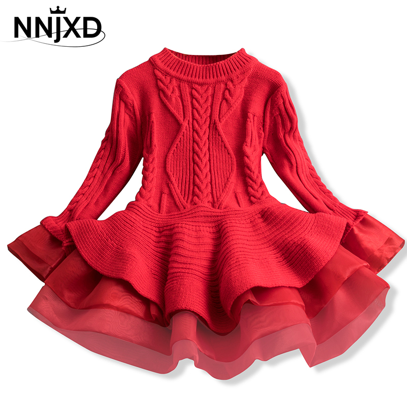 Xmas Winter Autumn Girl Dress Children Clothes Kids Dresses For Girls Party Dress Long Sleeve Knitted Sweater Toddler Girl Dress