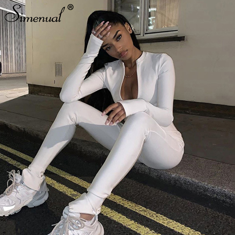 Simenual Casual Fitness Sporty Rompers Womens Jumpsuits Workout Zipper Activewear Long Sleeve Skinny Solid Jumpsuits Bodycon Hot