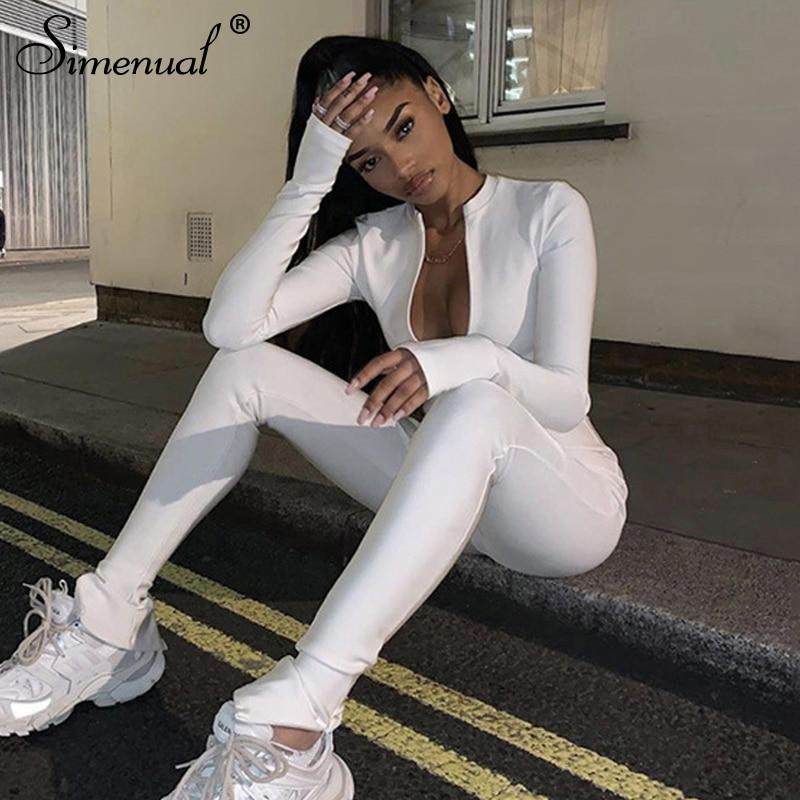 Simenual casual aptidão esportiva macacão das mulheres macacões treino com zíper activewear manga longa magro macacões sólidos outono 2019