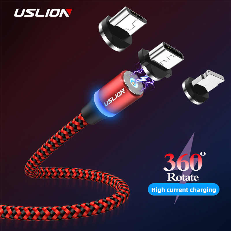USLION 1M 2M LED Magnetic USB Cable  Type C Cable & Micro USB for iPhone Xs Max 8 7 6 for Samsung Xiaomi HUAWEI Charging Cable
