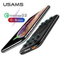 USAMS 10000mAh batterie externe Qi sans fil banque d'alimentation de chargeur pour iPhone Samsung charge rapide QC 3.0 18W PD Portable batterie externe