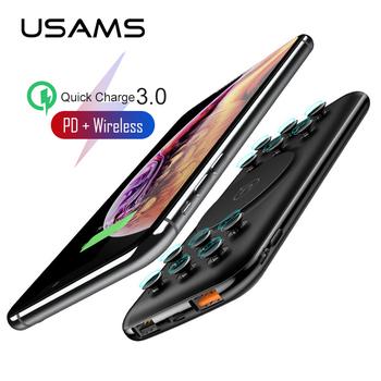USAMS Qi bezprzewodowy powerbank 10000mAh ładujący powerbank dla iPhone Samsung szybkie ładowanie QC 3 0 18W PD przenośna bateria zewnętrzna tanie i dobre opinie Bateria litowo-polimerowa Wsparcie szybkie ładowanie Rok wybudowania kable Ładowarki i akumulatora w 1 Typ C Podwójny USB