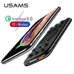Usams 10000 mah power bank qi carregador sem fio powerbank para iphone samsung carregamento rápido qc 3.0 18 w pd bateria externa portátil