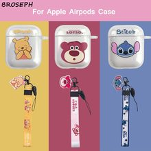 Silicone Case for Airpords 2 1 Cute Cartoon Pooh Stitch Protective Cover for Apple air pod Case Accessories with Anti-lost Strap
