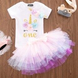 1 ano vestido da menina do bebê unicórnio macacão + tutu vestido + bandana roupas recém-nascidos batismo vestido 1st primeiro aniversário roupas