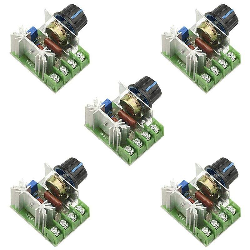 HOT-5PCS AC 220V 2000W SCR High Power Electronic Voltage Regulator Module Adjustable Motor Speed Controller Regulation 25A