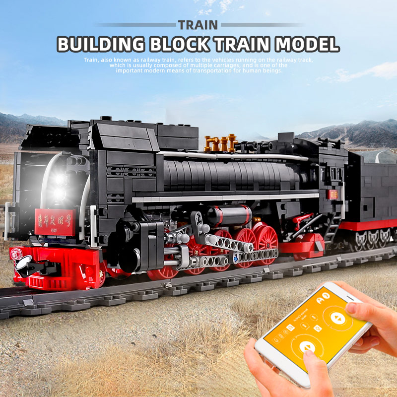 MOULD KING 12003 Motorized High-Tech Train Toys The QJ Steam Locomotives Car Model Building Blocks