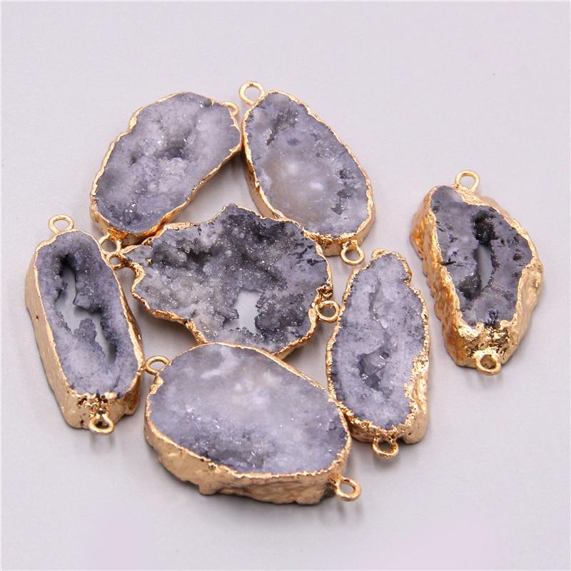 Natural gray crystal quartz connector pendants necklace bracelet Accessories agates druzy connector charm pendant jewelry making