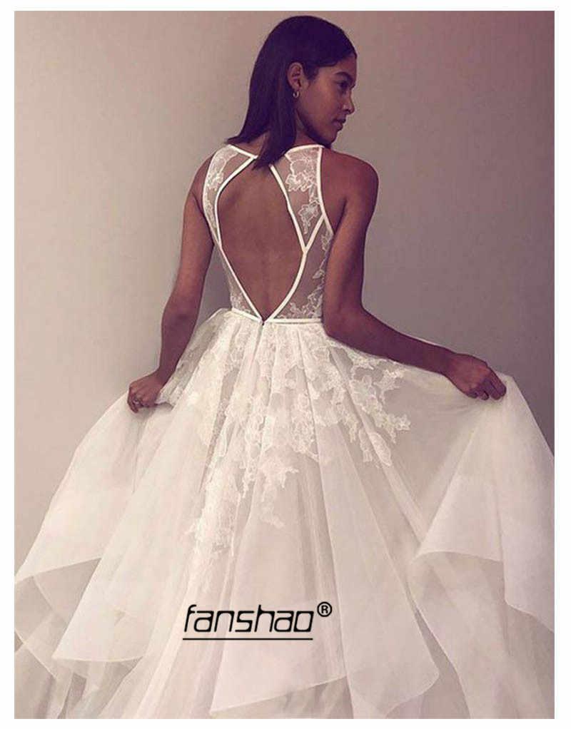 Chân Váy Xòe Caro Áo Dây De Mariee Tầng Ren Váy Cưới Cô Dâu Đầm Vestidos De Noiva Casamento Hở Lưng Áo Dài Cô Dâu