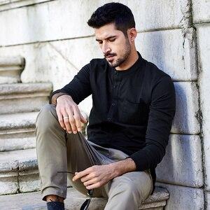 Image 2 - KUEGOU 2020 סתיו כפתור כותנה רגיל לבן T חולצה גברים חולצת טי מותג חולצה ארוך שרוול טי חולצה מזדמן בגדים בתוספת גודל 765