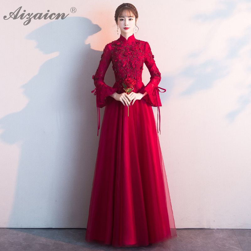 New Lace Evening Dresses Qi Pao Women Traditional Chinese Wedding Dress Cheongsam Modern Pregnant Long Qipao Promotion Red Robe