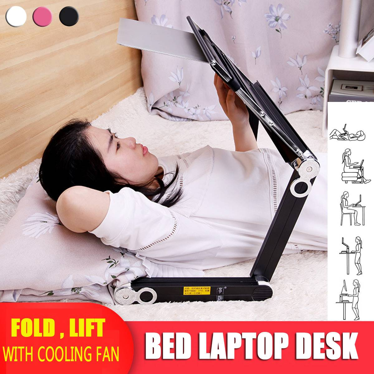 Notebook Suitable With Cooling Fan Adjustable 360 Degree Folding Portable Laptop Desk Table Stand Tray For Bed And Sofa