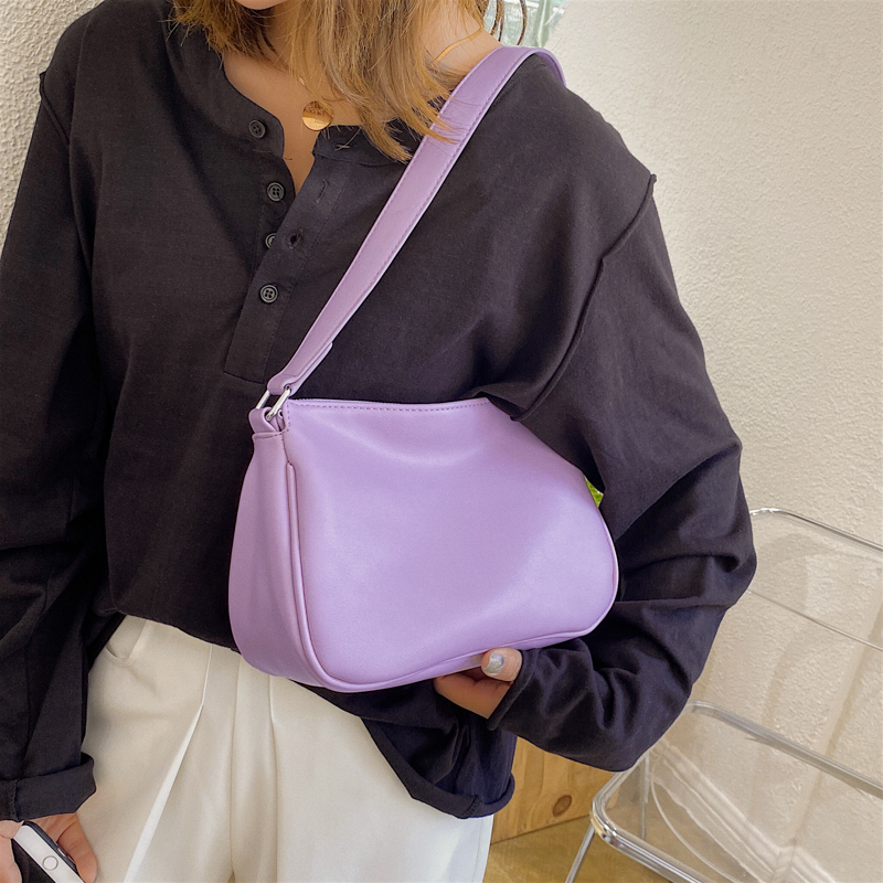 Small Solid Color PU Leather Shoulder Bags For Women 2020 Simple Fashion Handbags Lady Hand Bag Female Luxury Purple Bag