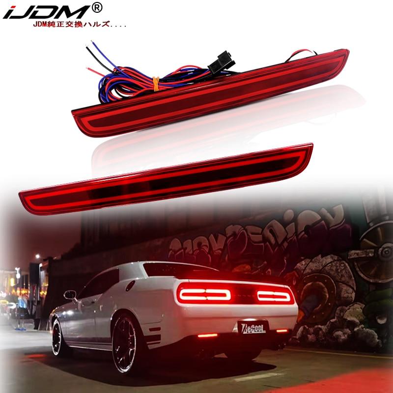 IJDM OEM 3D оптический стиль Светодиодный отражатель бампера для 2015-2019 Dodge Challenger задние противотуманные фары и задние стоп-сигналы светодиодный ...
