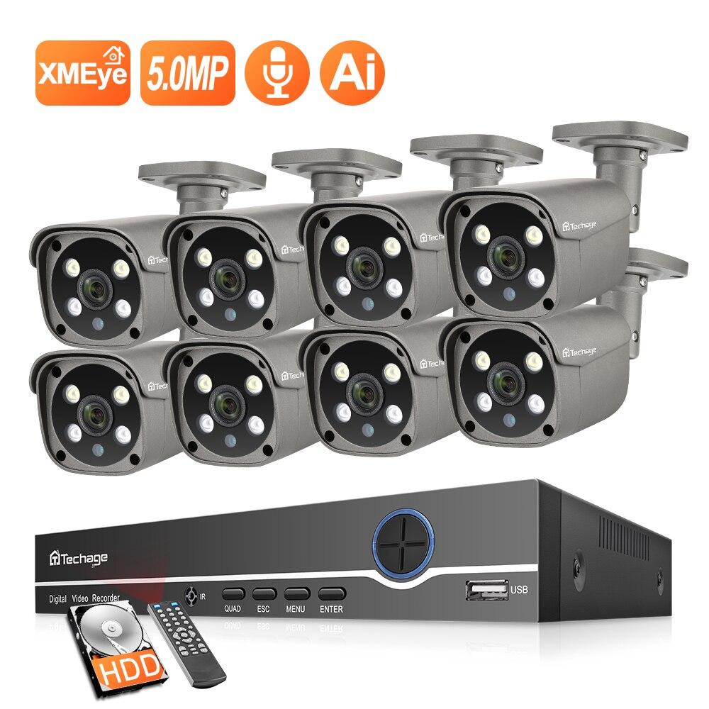 Techage 8CH CCTV System 5MP Ai Smart IP Kamera Outdoor CCTV Zwei weg Sprechen Metall Wasserdicht Hause Secruity Video Überwachung kit