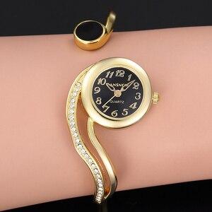 Золотые, серебряные, женские часы-браслет, элегантные, Топ бренд, стразы, витая полоса, женские часы, Reloj Mujer Montre Bracelet Femme