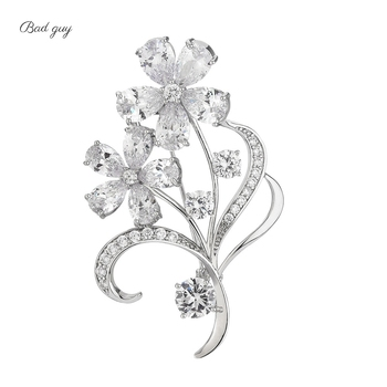 Bad Guy Sliver Flower Zircon Brooch Pin Shiny Flowers Brooch Jewelry Clothes Scarf Buckle Garment Accessories Fine Jewelry Gifts