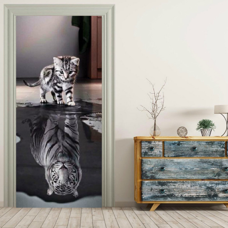 3D Self Adhesive Wall Artwork Decal On Door Animal Cat New Sticker For Home Door Decor Renovation Wallpaper Print Canvas Picture