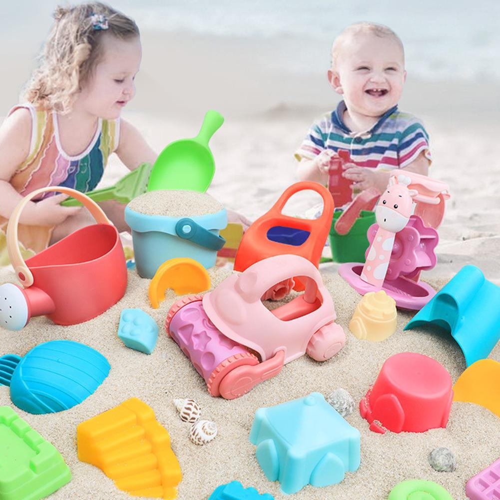 18/25Pcs Kids Beach Portable Sea Storage Mesh Bags Kids Beach Sand Toys  Plastic Bucket Shovel Tool Mold Play Sand Water Toy