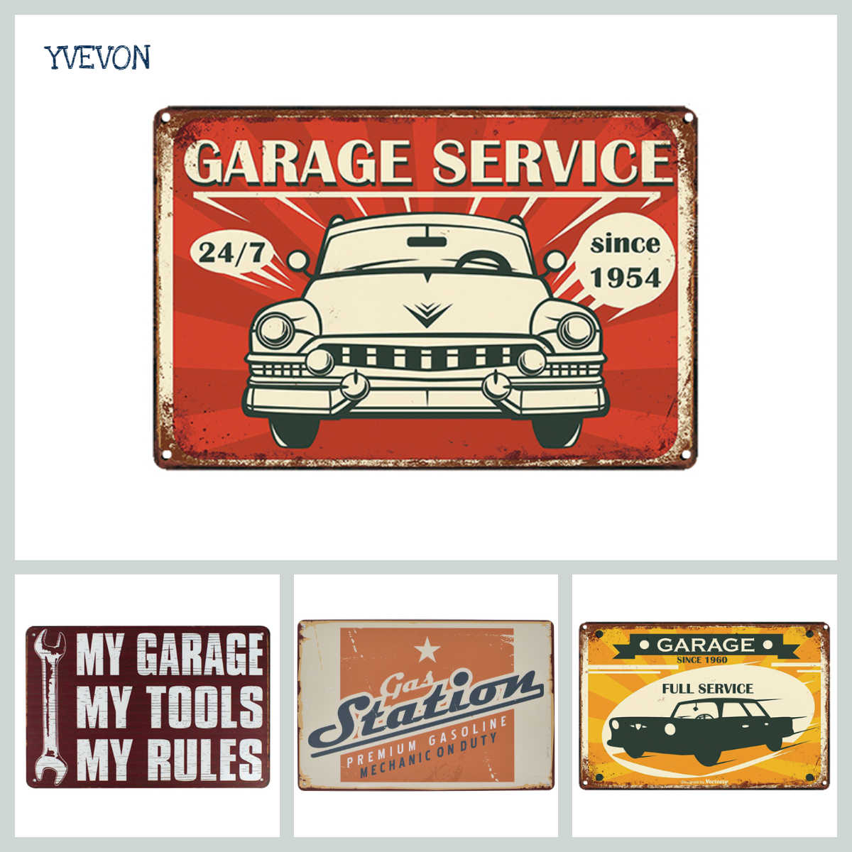Vintage Garage Service Metal Signs American Bus Poster Pub Bar Car Plaque Shop Home Decorative Wall Art Painting 20x30cm