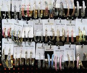 Image 2 - ミックススタイル 12 ペアファッションループイヤリングつや消しシルバーゴールドカラー女性女性パーティー卸売ジュエリーロット