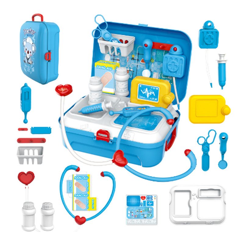 17 Pcs Children Pretend Play Doctor Toy Set Portable Backpack Medical Kit Kids Educational Role Play Classic Toys Xmas Gifts image