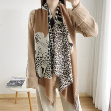 Women Spring Autumn Winter Sexy Thin Animal Printed Cotton Feeling Soft Lady Hijab Stole Long Pashmina Shawl Leopard Head Scarf(China)