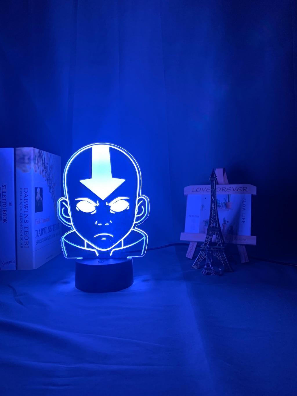 H05aa136b4a914bf69baf09409dc098cdZ Luminária Acrílico 3d Lâmpada Nightlight Avatar The Last Airbender para As Crianças Decoração Do Quarto Da Criança A Lenda de Aang Figura Mesa Appa luz da noite