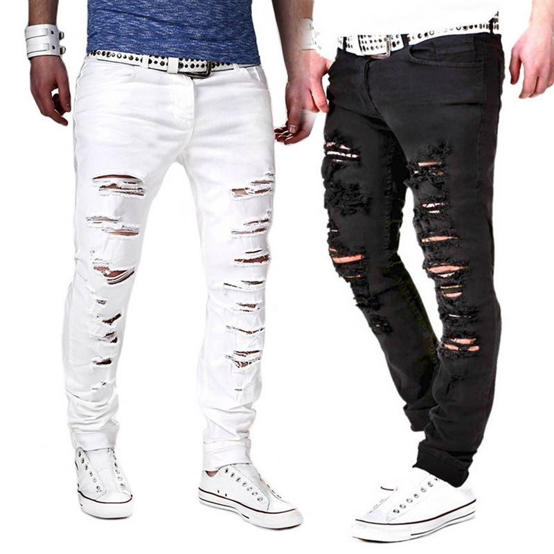Fashion Solid White Skinny Jeans Men Sexy Ripped Hole Distresses Washed Pants Male Casual Streetwear Hip Hop Denim Jeans