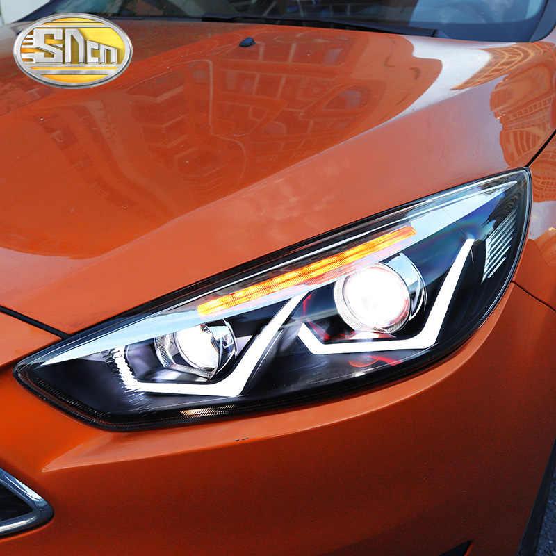 Auto Styling Led Koplamp Voor Ford Focus 3 MK3 2015 - 2018 Led Drl Richtingaanwijzer Led Rode Duivel eyes Koplamp Montage