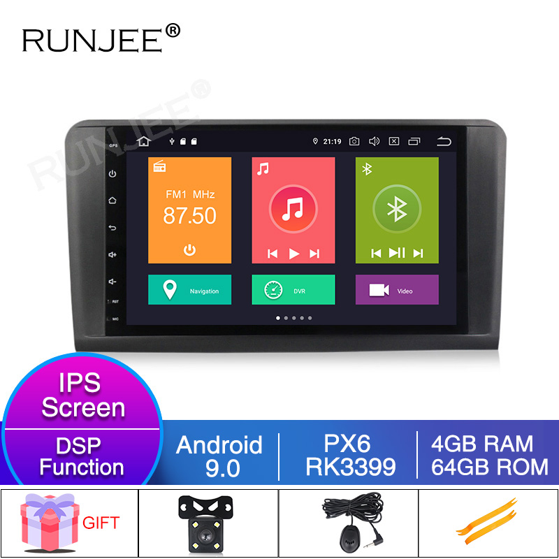 RUNJEE 2din six core Android 9 Car radio Touchscreen Multimedia player For Mercedes BENZ <font><b>ML</b></font> 320/<font><b>ML</b></font> <font><b>350</b></font>/<font><b>W164</b></font>(2005-2012) image
