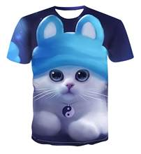 Summer 2020 hot sale T-shirt 3D printed animal cat round neck short sleeve T-shirt comfortable loose men and women S-6XL(China)