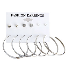 Large Circle Suit Womens Simple Punk Style Round Earrings Party Jewelry Gift 6 Pairs / Batch