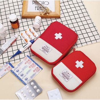 Outdoor Portable First Aid Emergency Medical Bag Medicine Drug Pill Box Home Car Survival Kit Emerge Case Small Oxford Pouch image