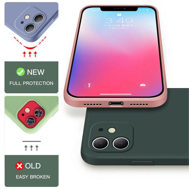 Luxury Original Square Liquid Silicone Case For iPhone 12 11 Pro Max Mini X XR XS Max 7 8 6s Plus SE 2020 Shockproof Soft Cover 5