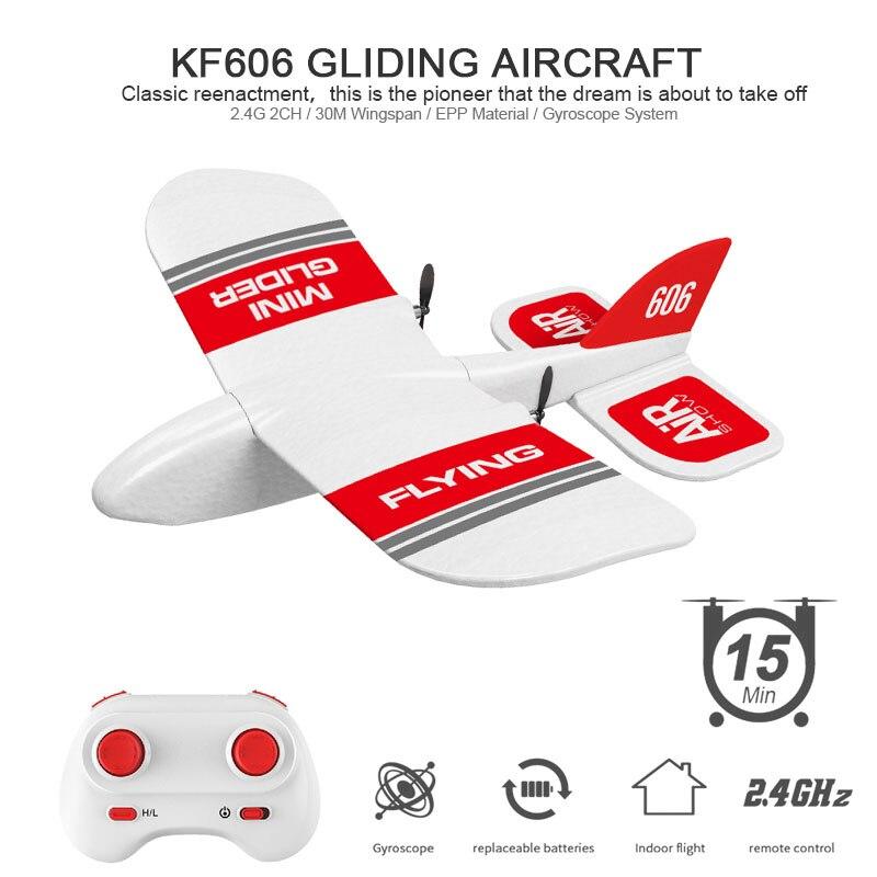 RC Plane KF606 2.4Ghz EPP Flying Aircraft Mini Glider Airplane Foam 15 Minutes Fligt Time RTF Foam Plane Toys Kids Gifts