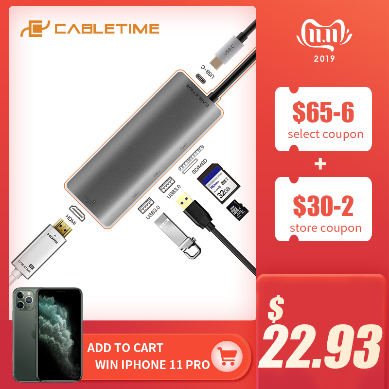 CABLETIME USB C HUB HDMI 4K Type C To USB 3.0 SD&Micro SD Card Reader 6 In 1 USB-C Charge For Galaxy S8/S9 PC MacBook Pro C040