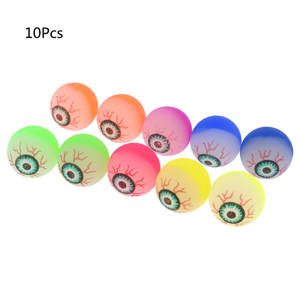 10pcs Eye Ball Glowing Doll Bouncy Eyeball Horror Scary Halloween Cosplay Prop Party Haunted Decoration