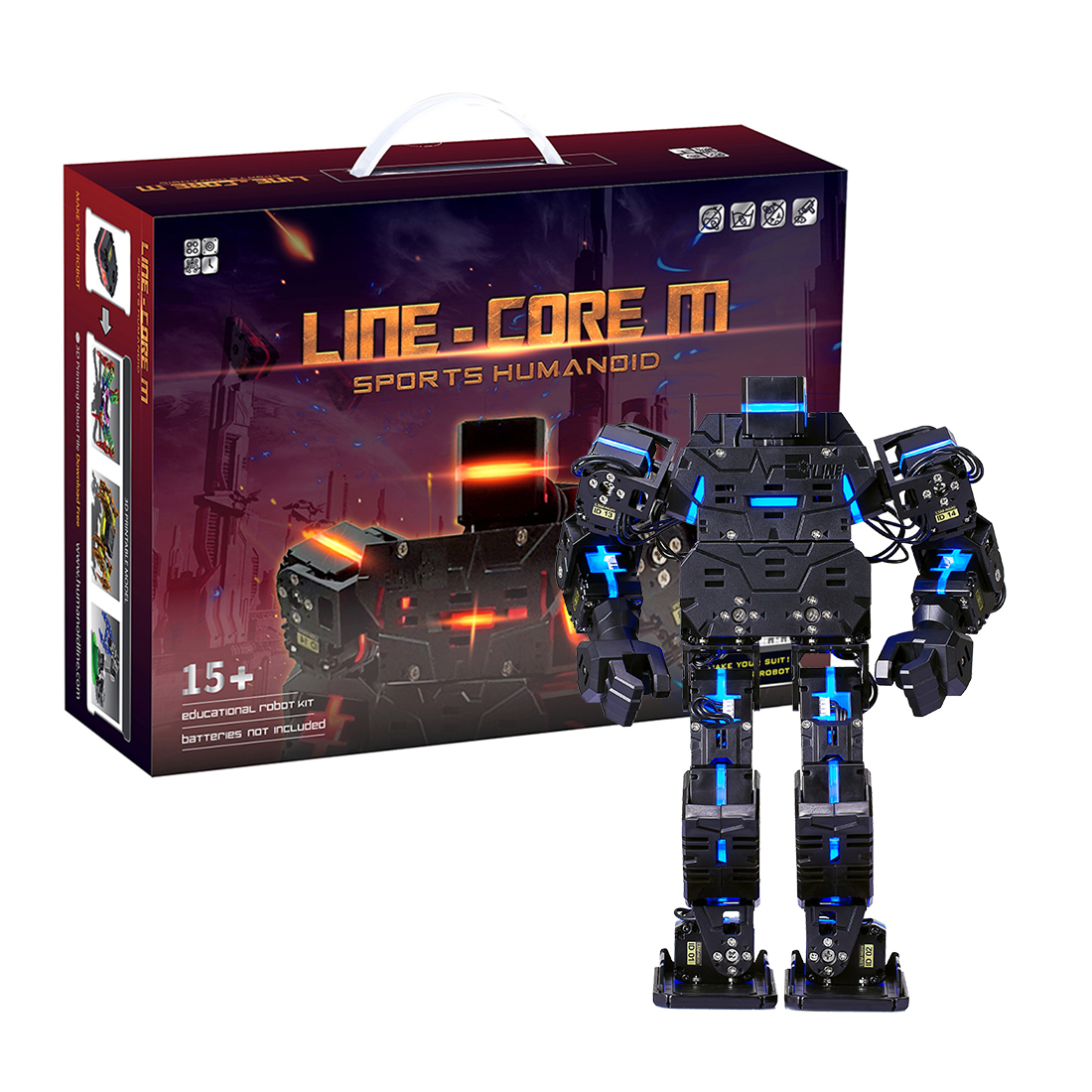 27cm My Robot Time LINE-Core M Graphical DIY Programmable Humanoid Robot Educational Robot Kit - Black/Red/Blue/White 1