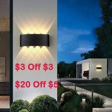Lâmpadas de parede led ip65 iluminação exterior impermeável jardim luzes 85-265v luz de parede interior de alumínio para varanda varanda escadas lâmpada