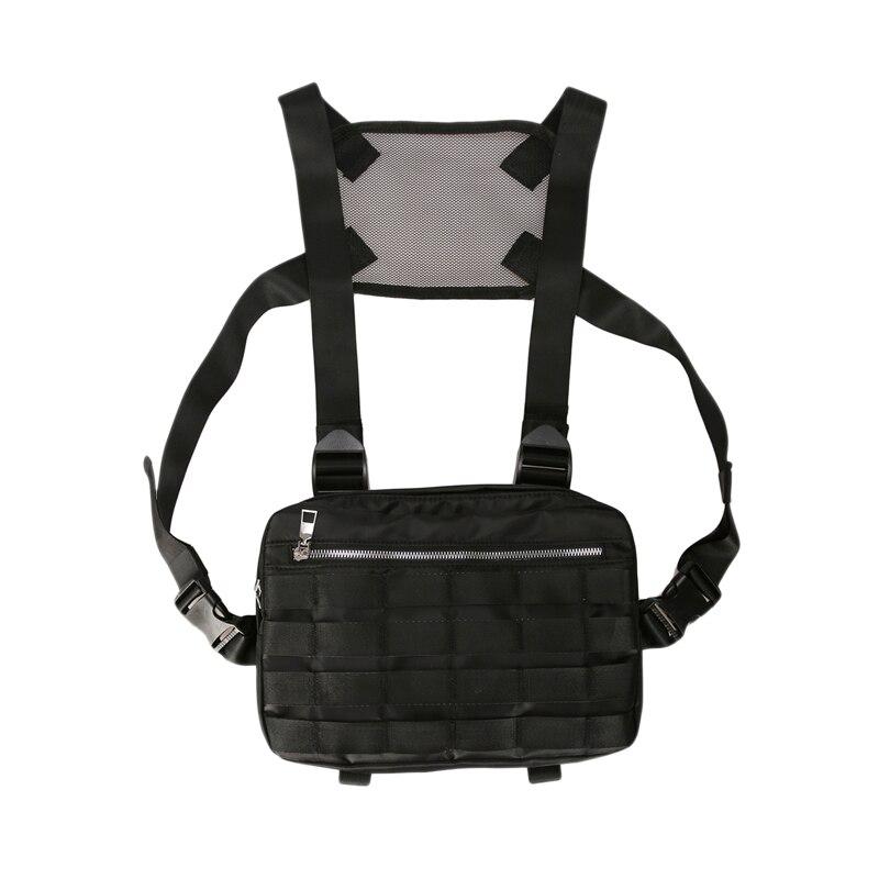 Chest Rig Bags Adjustable Pocket Hip Hop Streetwear Functional Breast Bag Cross Shoulder Bag Black